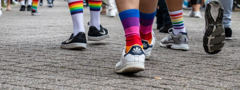 People Walking with Colored Socks